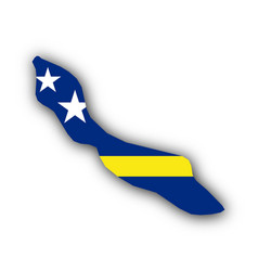 map and flag of curacao vector image vector image