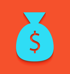 Money bag sign whitish icon vector