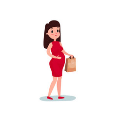pregnant woman character standing with paper bag vector image