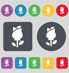 Rose icon sign a set of 12 colored buttons flat vector