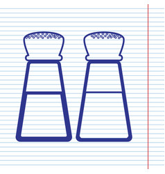 Salt and pepper sign navy line icon on vector