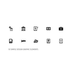 set of 10 editable finance icons includes symbols vector image