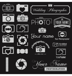 Set of logo and logotype elements for photoraph vector image vector image