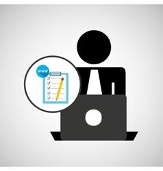 silhouette programmer working laptop www checklist vector image