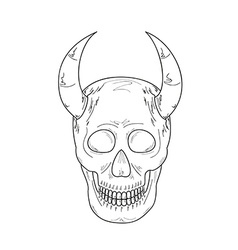 sketch of the skull with horns vector image vector image
