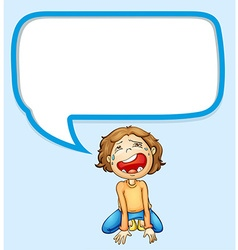 Speech bubble design with boy crying vector