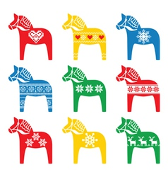 Swedish Dala Dalecarlian horse with winter style vector image vector image