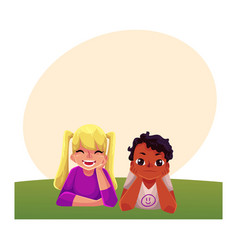 Two kids black african boy caucasian girl lying vector