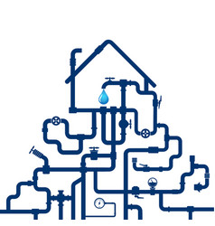 water pipes and house vector image vector image