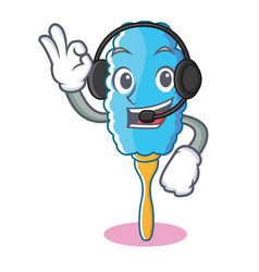 With headphone feather duster character cartoon vector