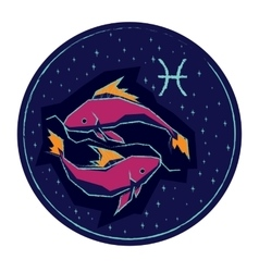 Zodiac sign Pisces on night starry sky background vector image vector image