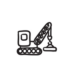 Lifting crane sketch icon vector
