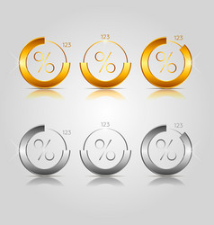 gold and silver pie charts vector image