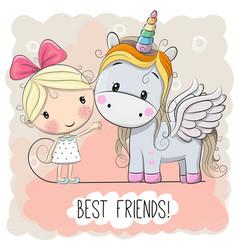 cute cartoon girl and unicorn vector image