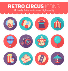 Retro circus icons set for web and graphic design vector