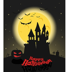 Dark castle in a full moon happy halloween vector