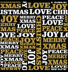 Christmas gold glitter word seamless pattern art vector