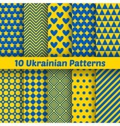 Ukrainian geometric seamless patterns set for vector