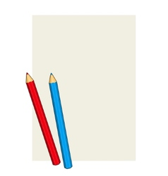 Two colored pencils on a blank paper vector