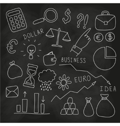 Set of hand drawn business and finance elements vector