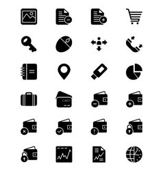 Finance solid icons 5 vector