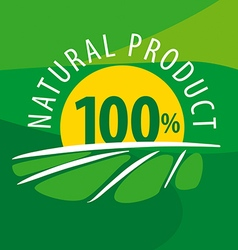 Logo sun for 100 natural products vector