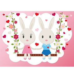Bunnies on a swing card vector