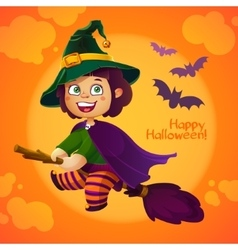 Happy halloween witch girl flying on broom vector