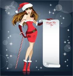 Beautiful girl santa claus vector
