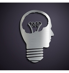 Flat metallic logo bulb of a human head vector