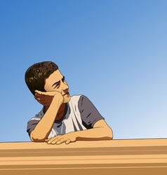 Thinking boy in summer vector