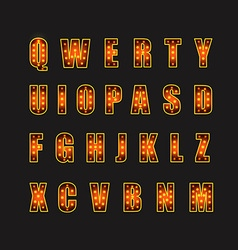 Glowing festive letters collection design elements vector
