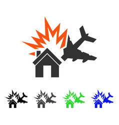 Aircraft house collision flat icon vector