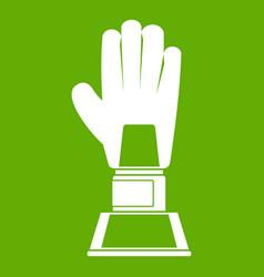 baseball glove award icon green vector image