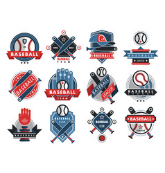 baseball logo badge sport team or club vector image