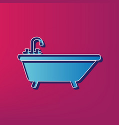 Bathtub sign blue 3d printed vector