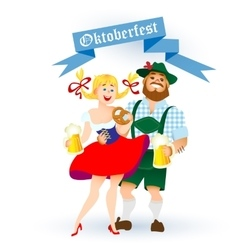 Bavarian man and woman with a big glass of beer vector