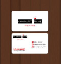 beauty salon business card template vector image