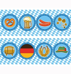 Beer elements with oktoberfest symbol labels vector