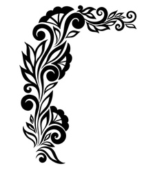 black-and-white lace flower in the corner vector image vector image