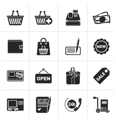 Black shopping and retail icons vector image vector image