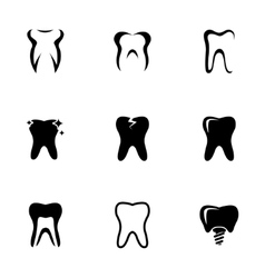 black teeth icons set vector image vector image