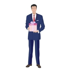Business man in classic suit holding box gift vector image vector image