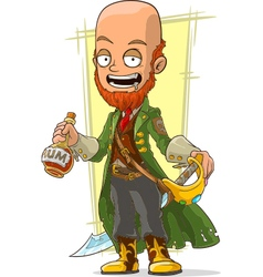 Cartoon redhead pirate with rum and vector image