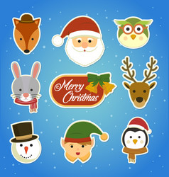 christmas sticker set vector image