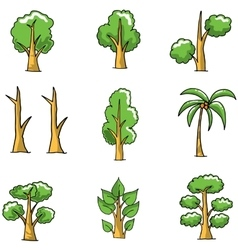 Collection of simple tree doodles vector