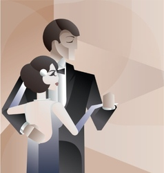 Dancing couple Art Deco geometric style poster vector image vector image