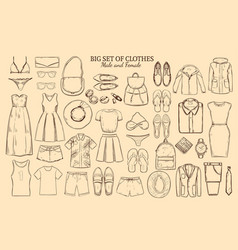 doodle wardrobe elements collection vector image
