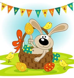 easter bunny in basket vector image vector image
