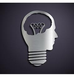 Flat metallic logo bulb of a human head vector image vector image
